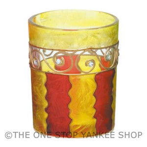 Yankee Candle Yellow Red Jewelled Waves Sampler Holder