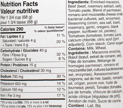 lasagna with meat sauce #10 can nutritional facts
