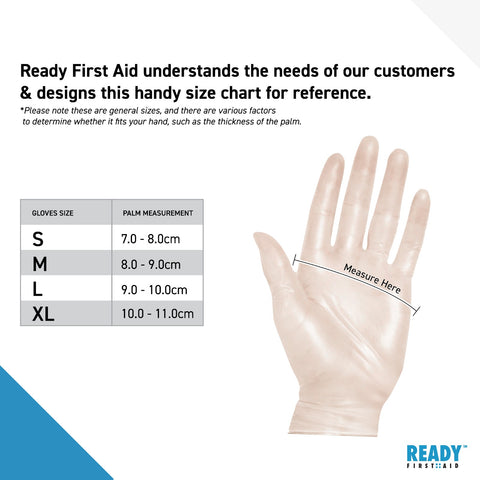 Ready First Aid Vinyl Gloves Sizing Chart