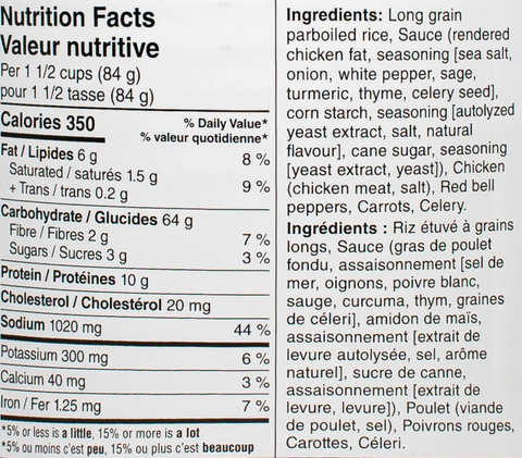 rice and chicken #10 can nutritional facts