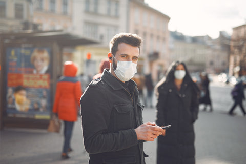 People wearing a protective mask standing on the street