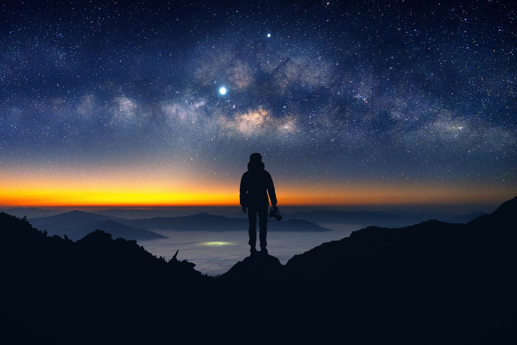 milky way with man