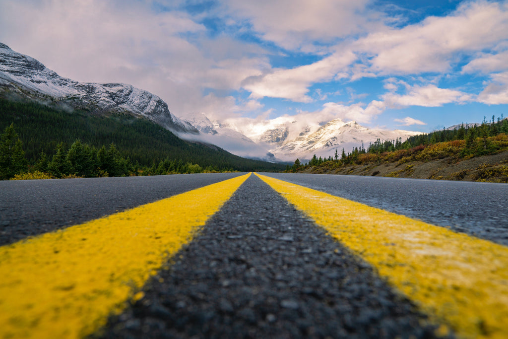 trans canada highway with mountains