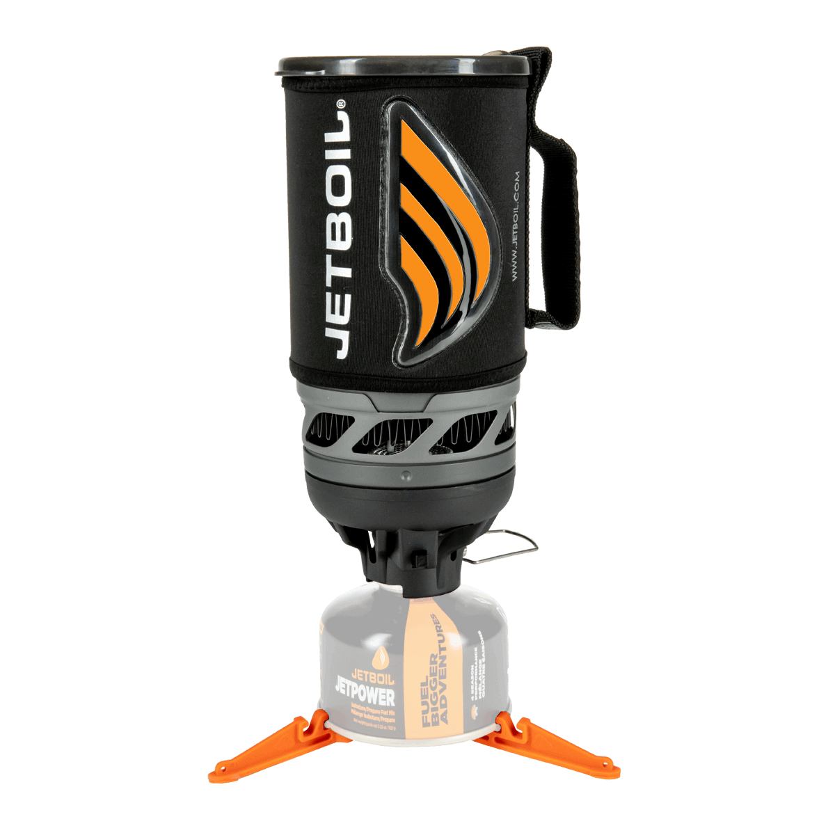Jetboil Flash Carbon stove with orange heat indicator on stand