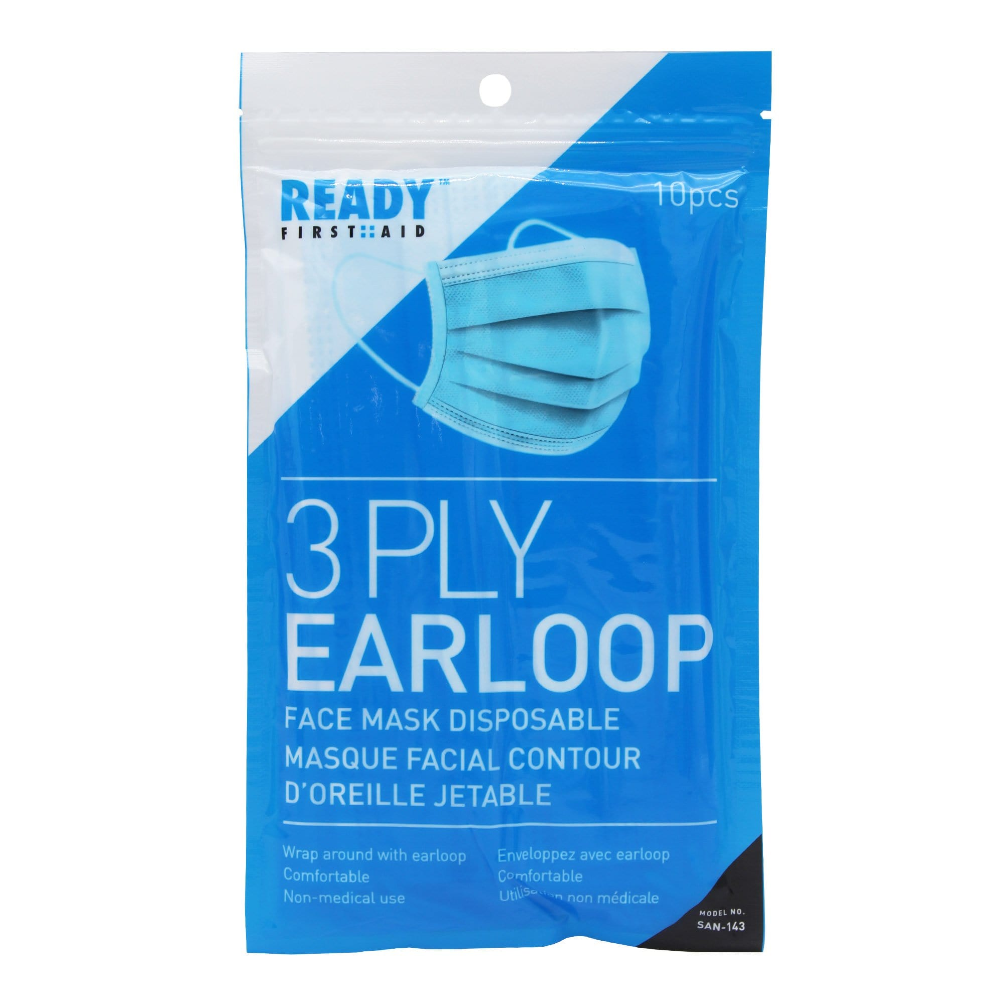 3-PLY Earloop Disposable Face Mask Pack of 10 - Ready First Aid