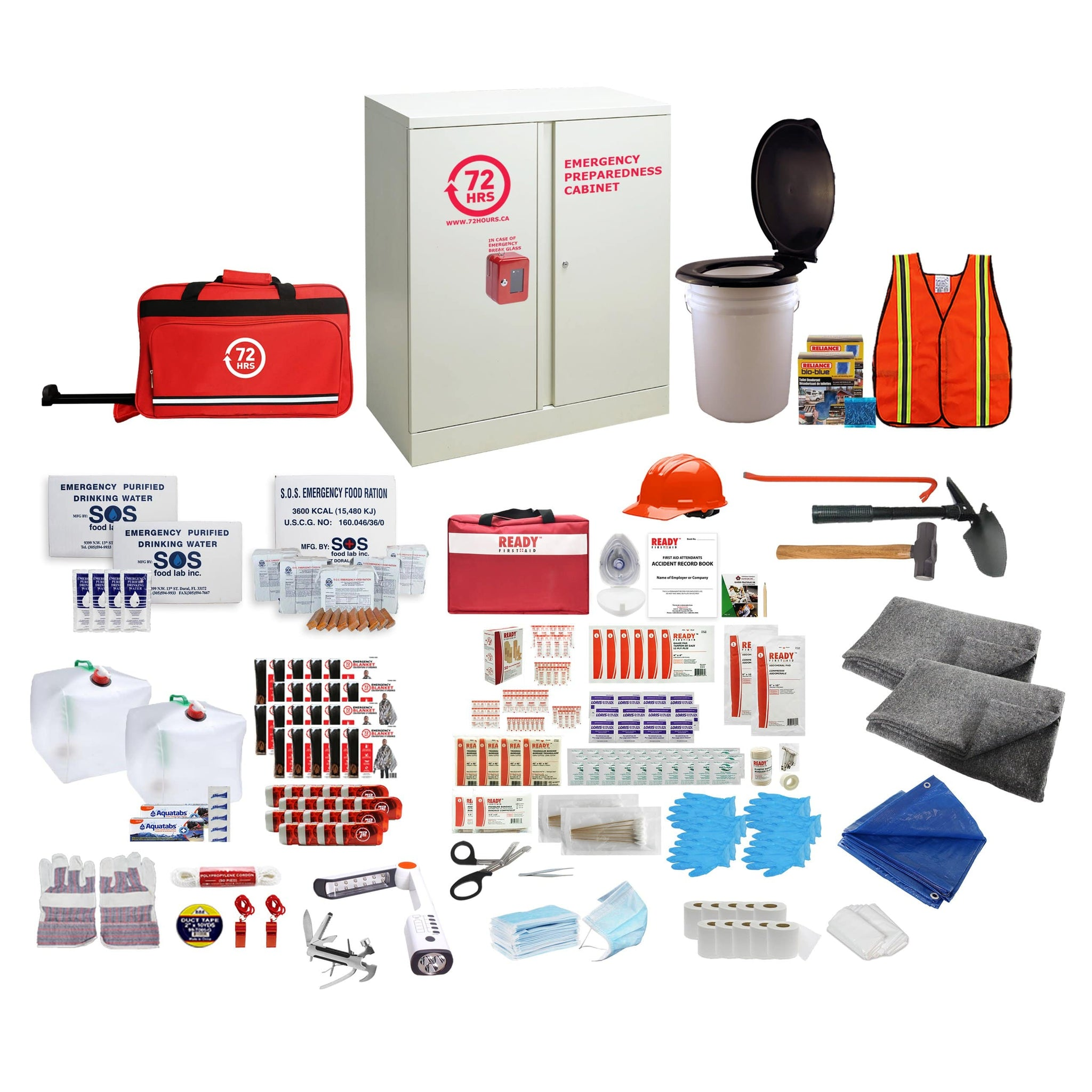72HRS 20 people emergency cabinet kit with contents laid ouside of cabinet
