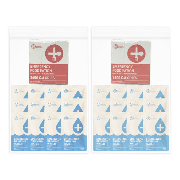 2 person emergency food and water replacement kit