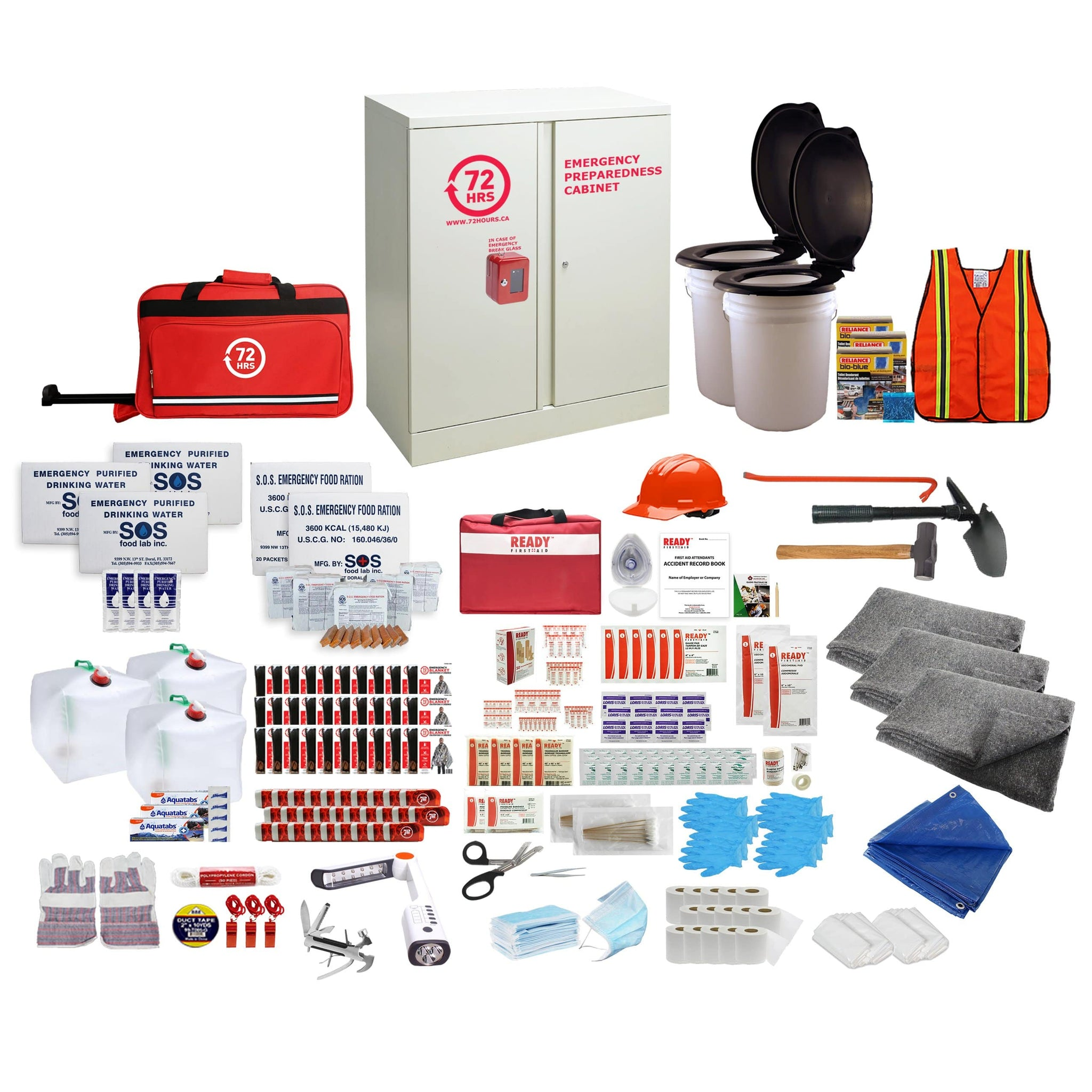 72HRS 30 people emergency cabinet kit with contents laid ouside of cabinet