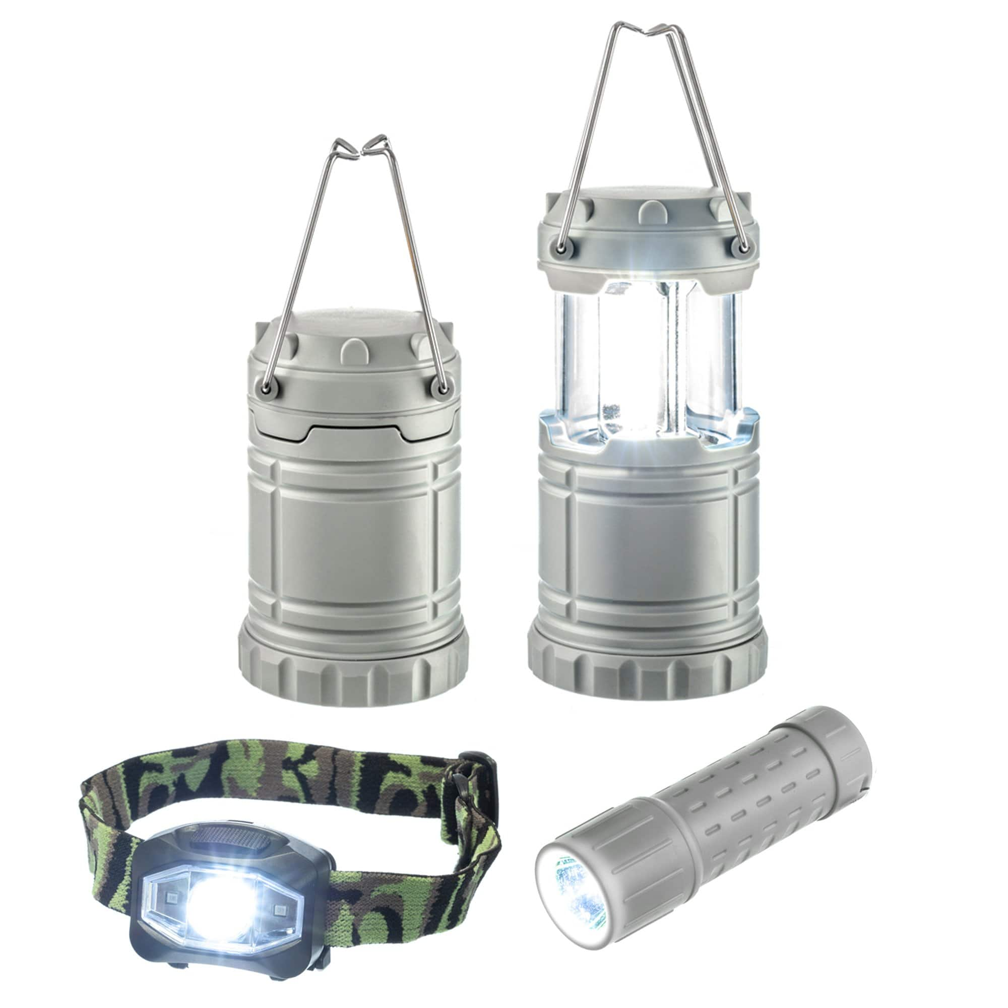 """3Pc Camping Light Set (Gray color) - Collapsible Lantern, Head Lamp  & Flashlight"""