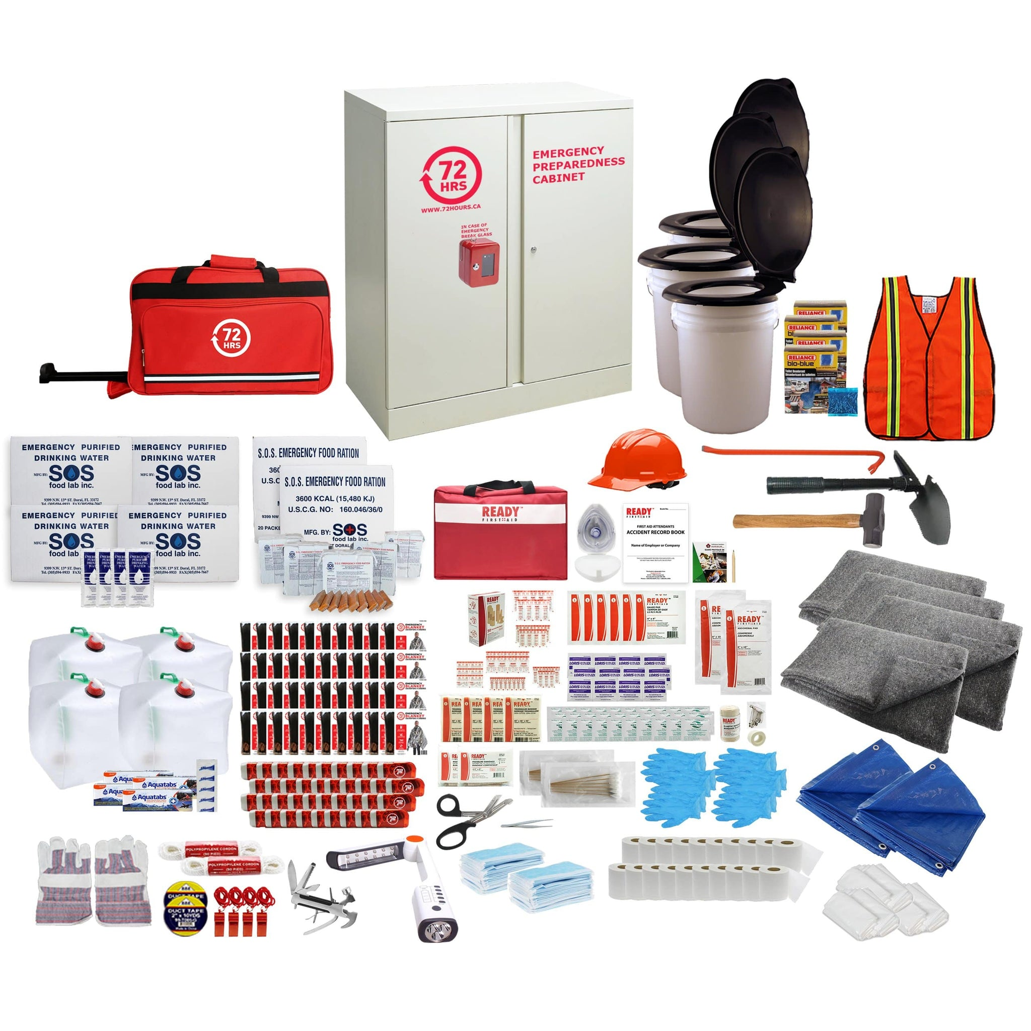 72HRS 40 people emergency cabinet kit with contents laid ouside of cabinet
