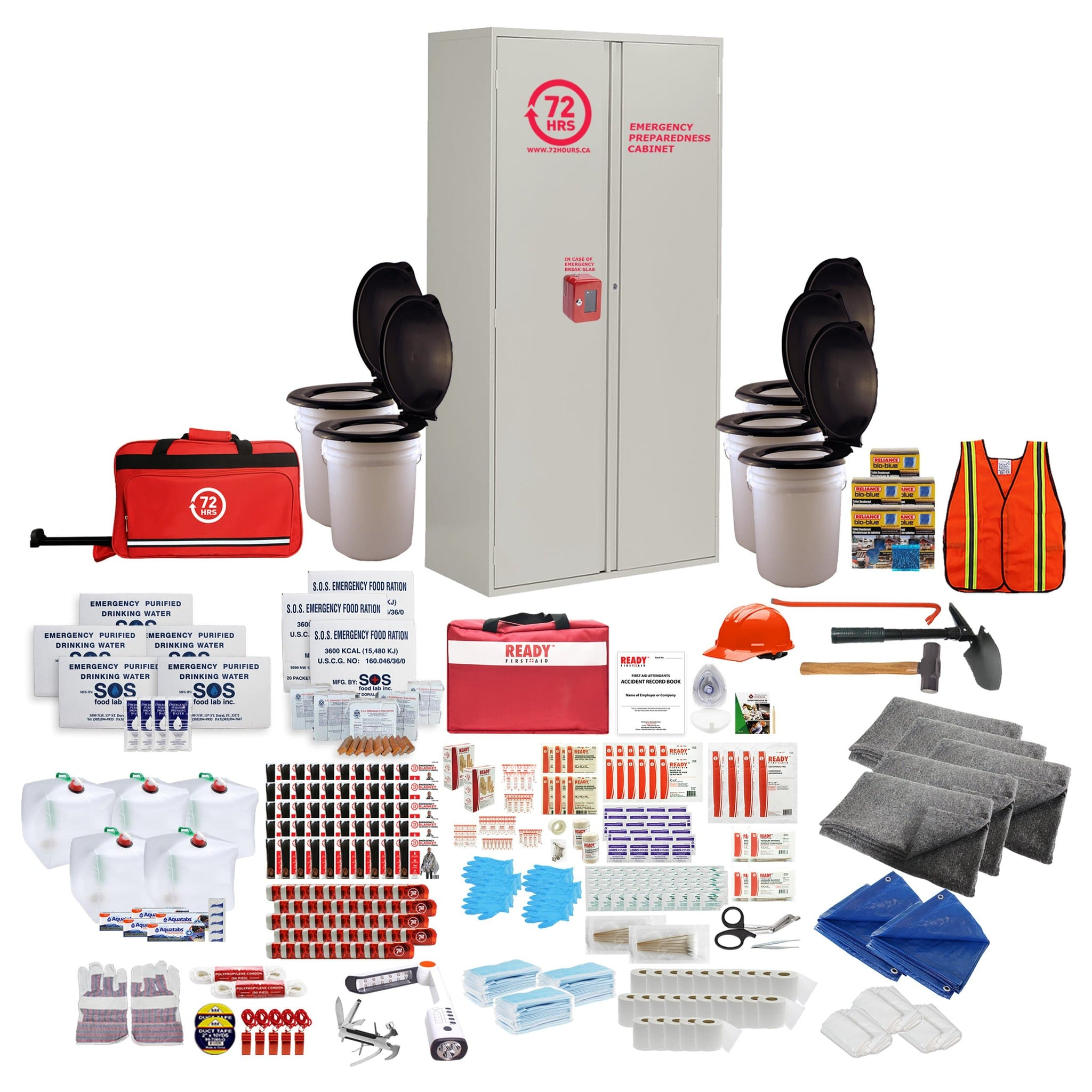 72HRS 50 people emergency cabinet kit with contents laid ouside of cabinet