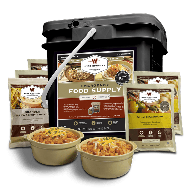 Wise 56 Serving Breakfast and Entree Package in Portable Sealed Bucket