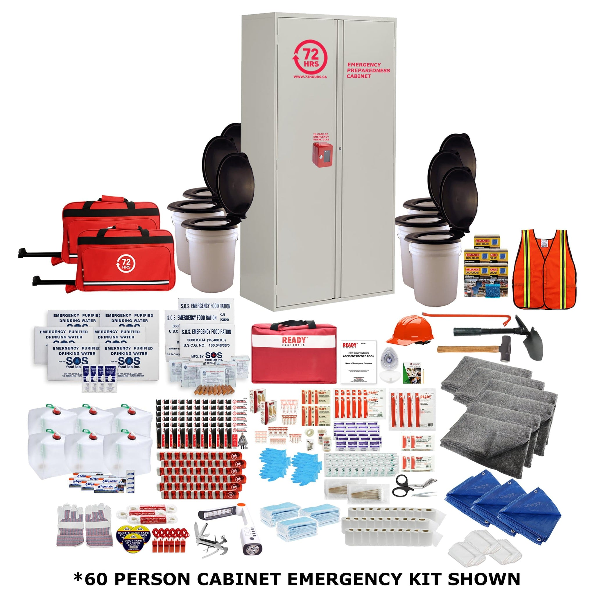 72HRS 60 people emergency cabinet kit shown with contents laid ouside of cabinet