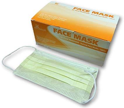 50 Pack Surgical Mask Yellow