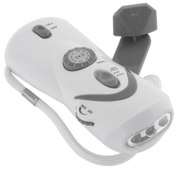 hand-crank light and radio with USB device charger