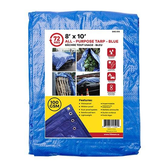 "Tarp, All-Purpose, Blue - 72HRS 8"" x 10"""