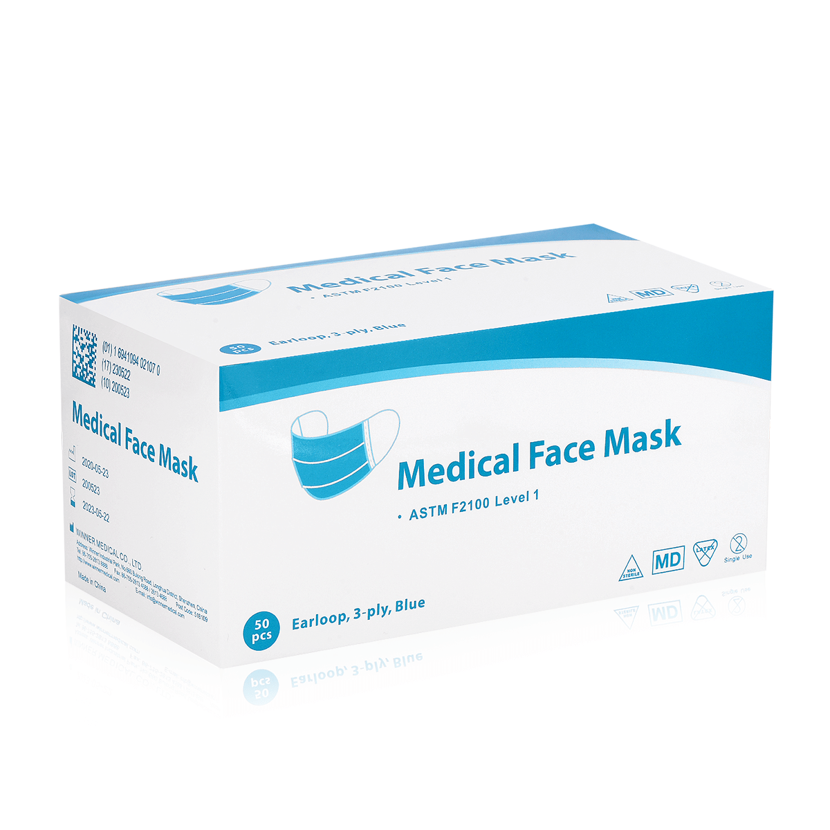 Box of 50 ASTM Level 1 Surgical Mask