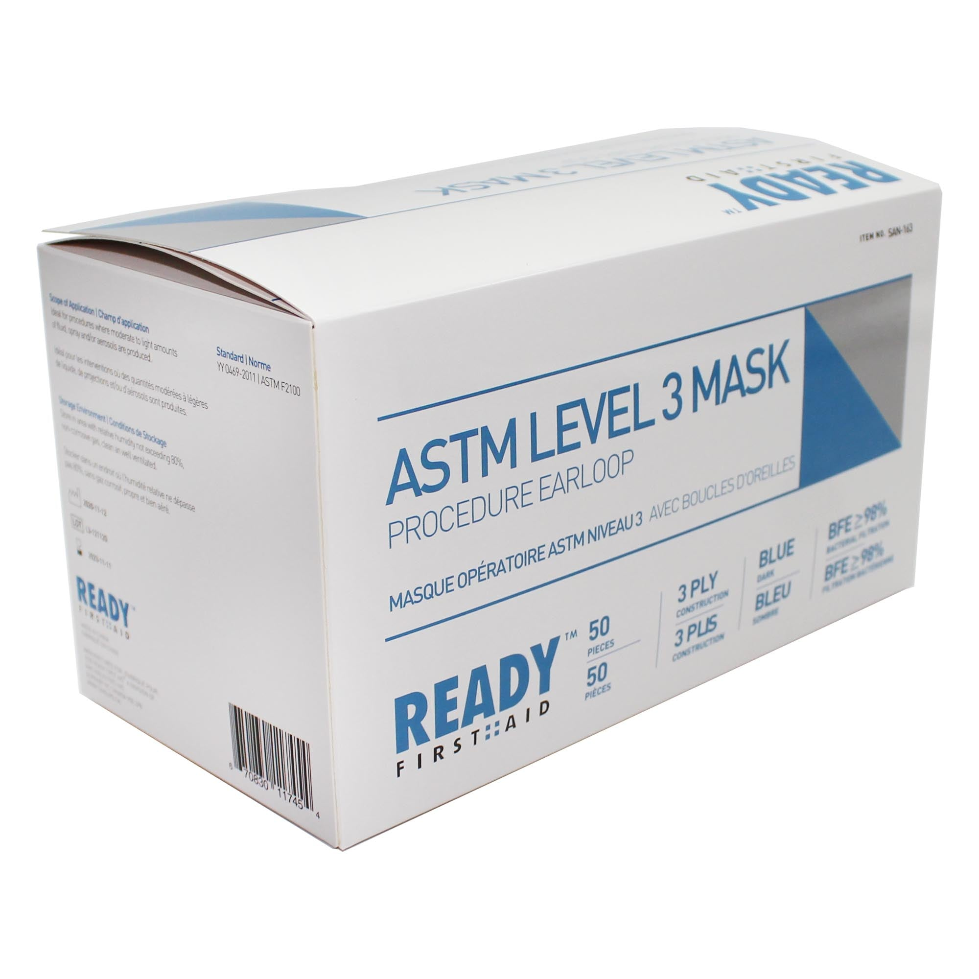 Surgical Face Mask, ASTM Level 3, 3-PLY, Blue (Box of 50) - Ready First Aid™