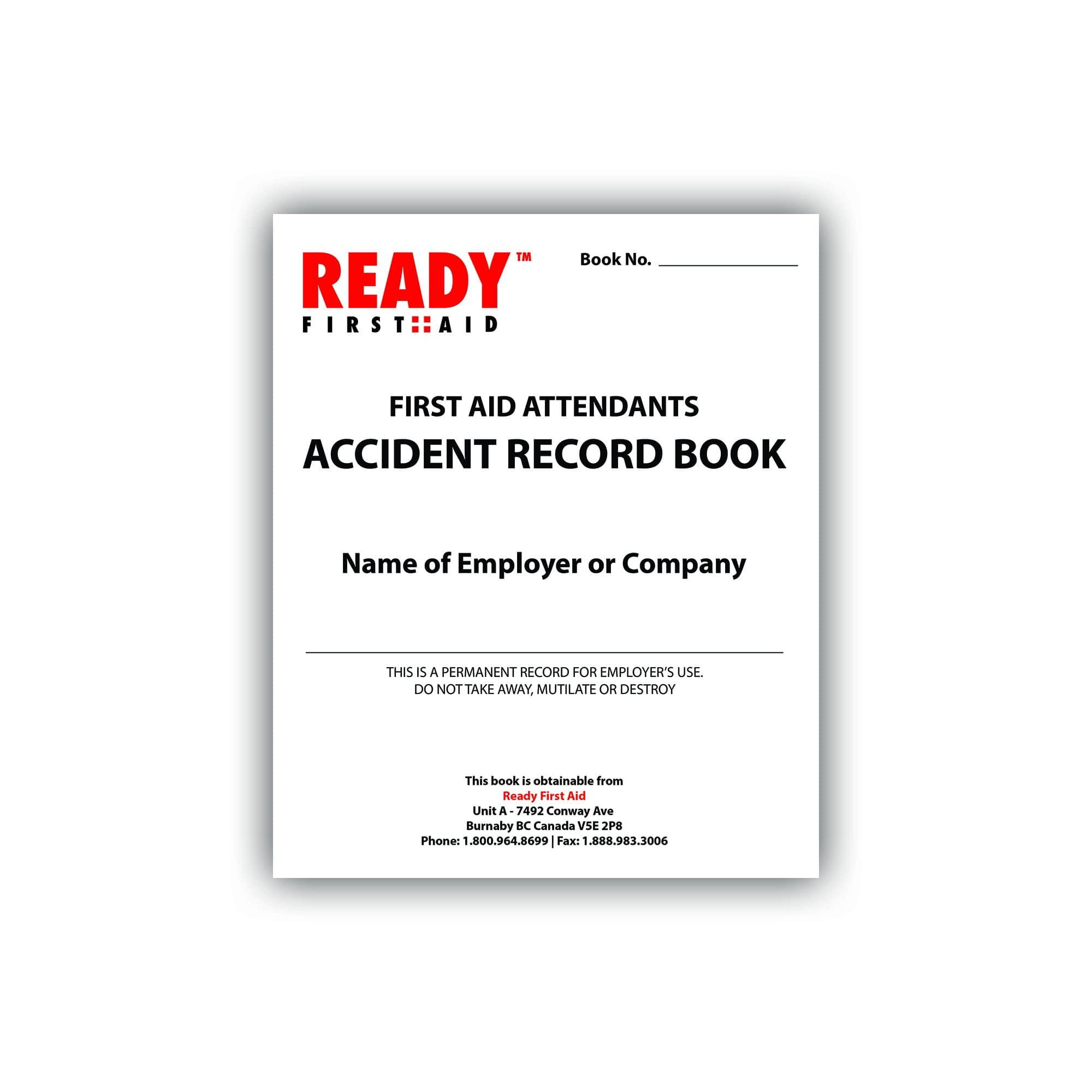 Accident Record Book 12pgs - Ready First Aid