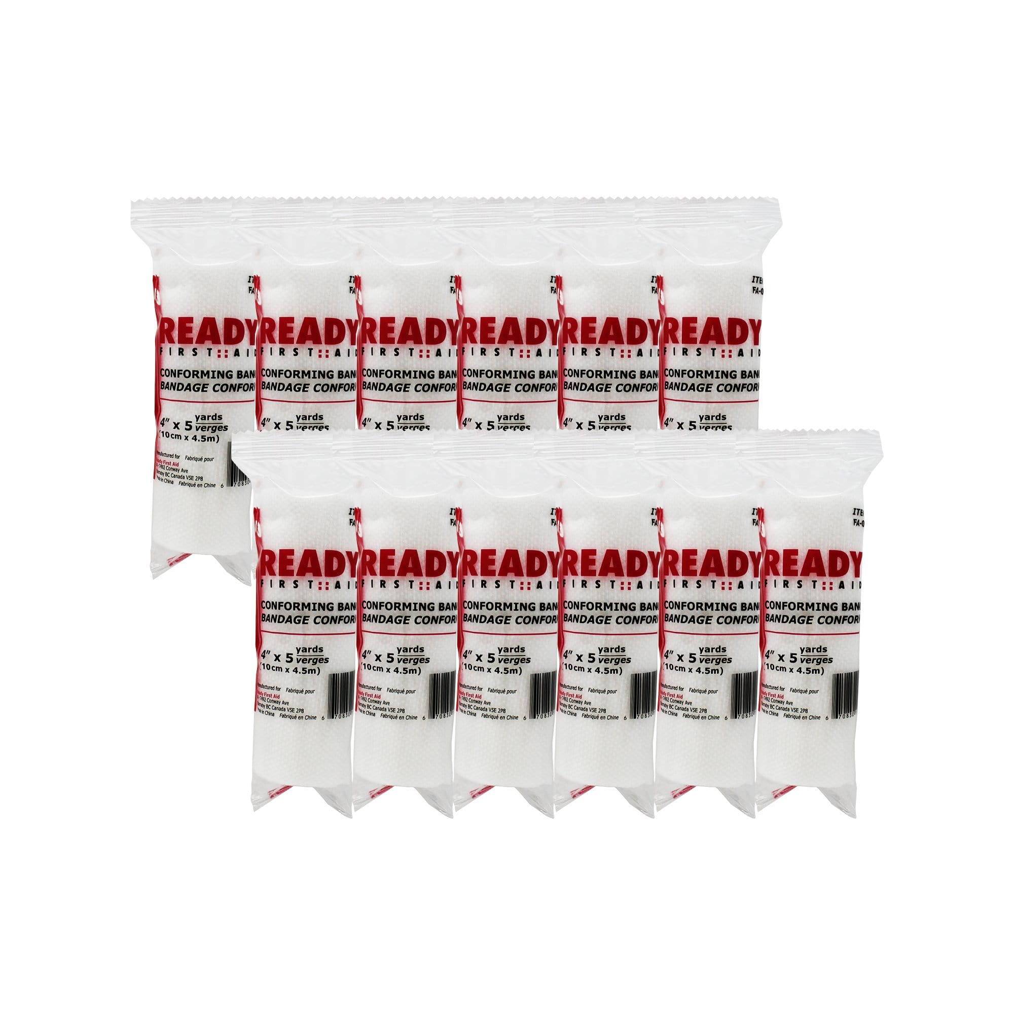 "Conforming Stretch Bandage (4""), 10.16cm x 4.5m - Ready First Aid (Pack of 12)"