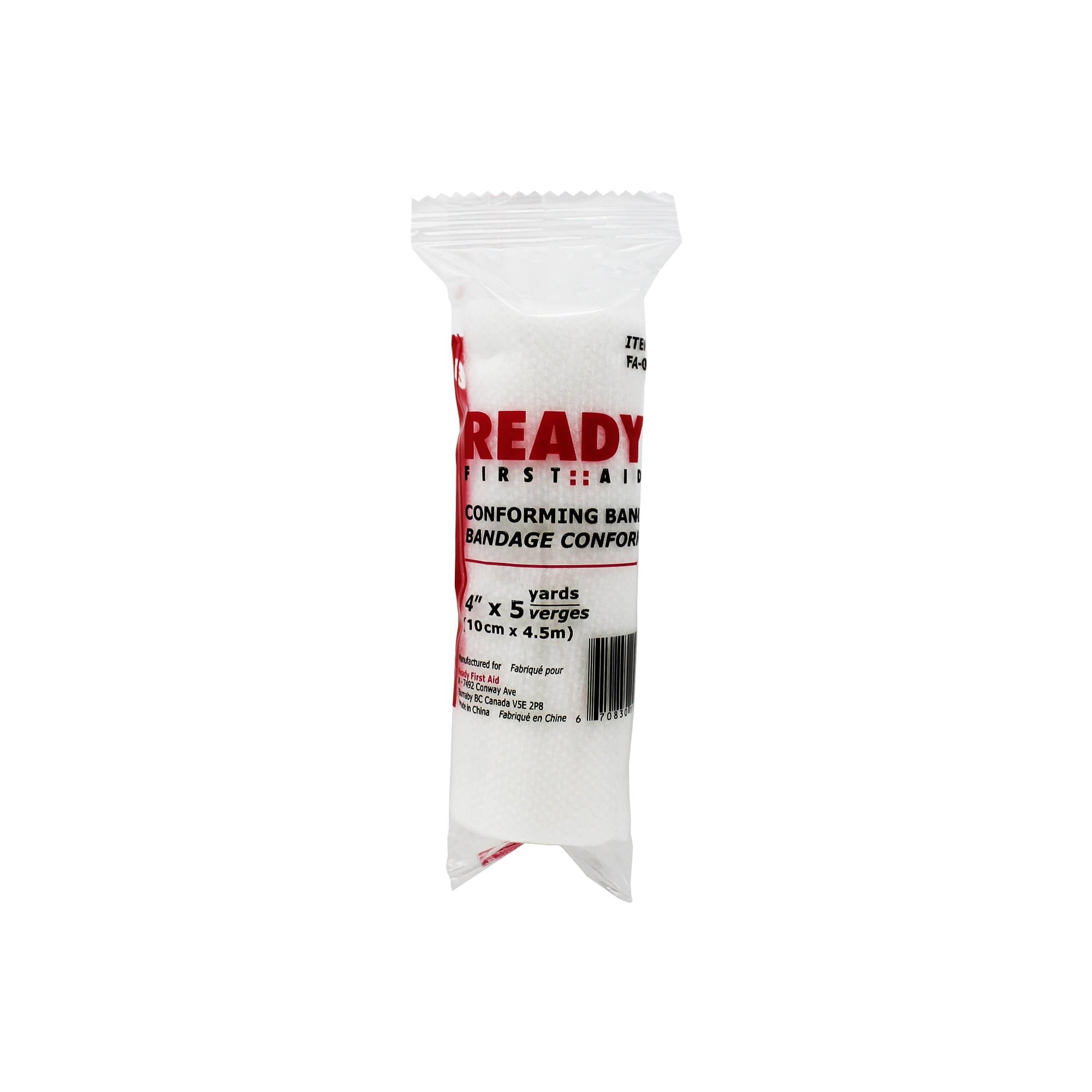 "Conforming Stretch Bandage (4""), 10.16cm x 4.5m - Ready First Aid"