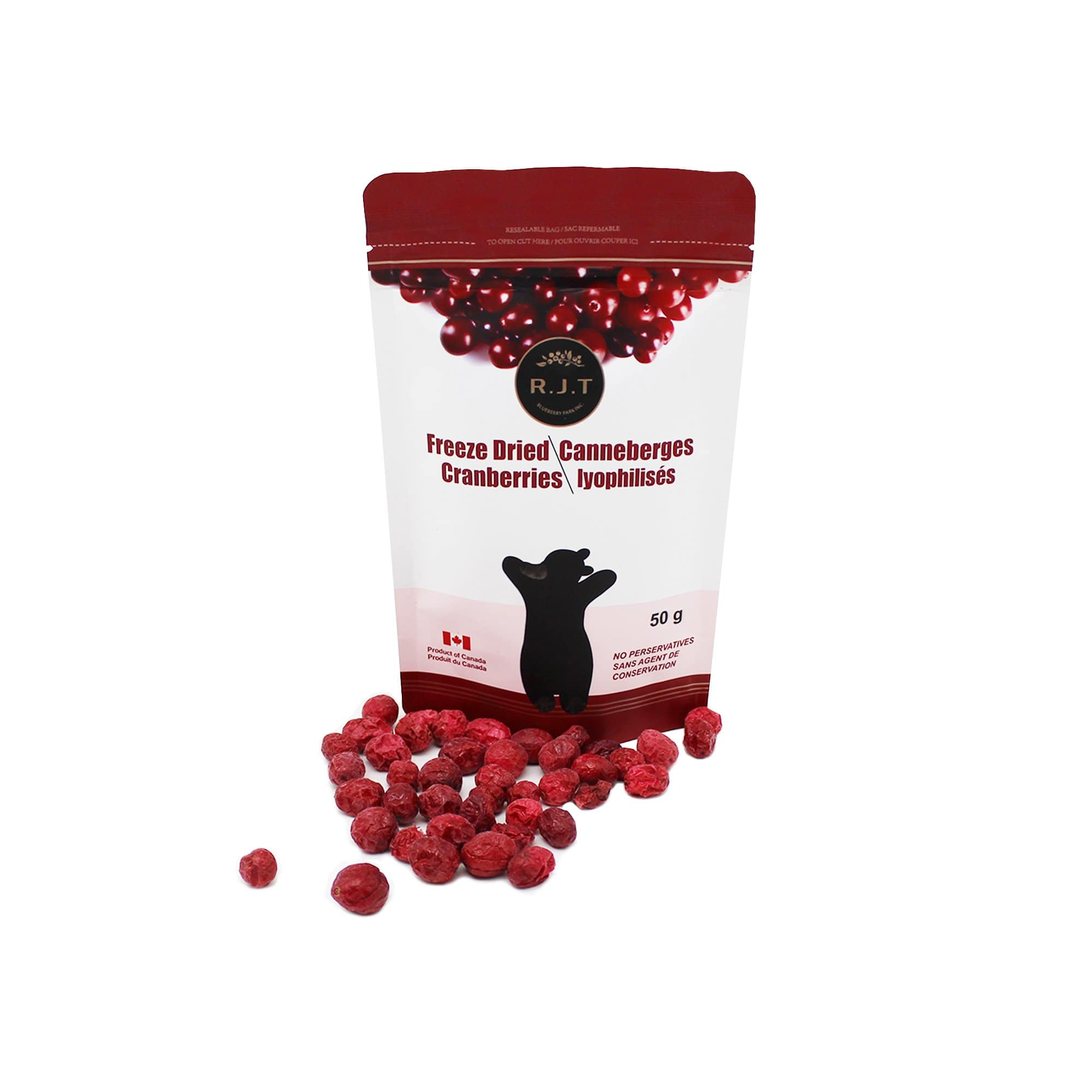 freeze dried cranberries with cranberries in front