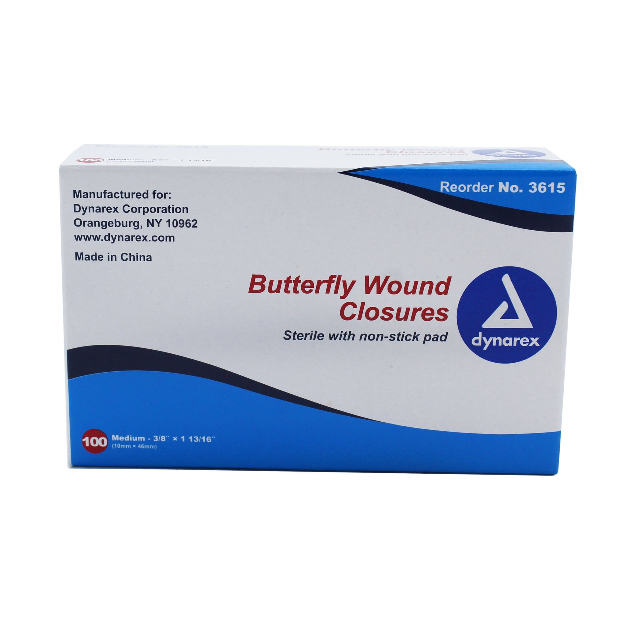 "Sterile Butterfly Closure Strips (Medium Size) 3/8"" x 1-13/16"" (100/Box)"