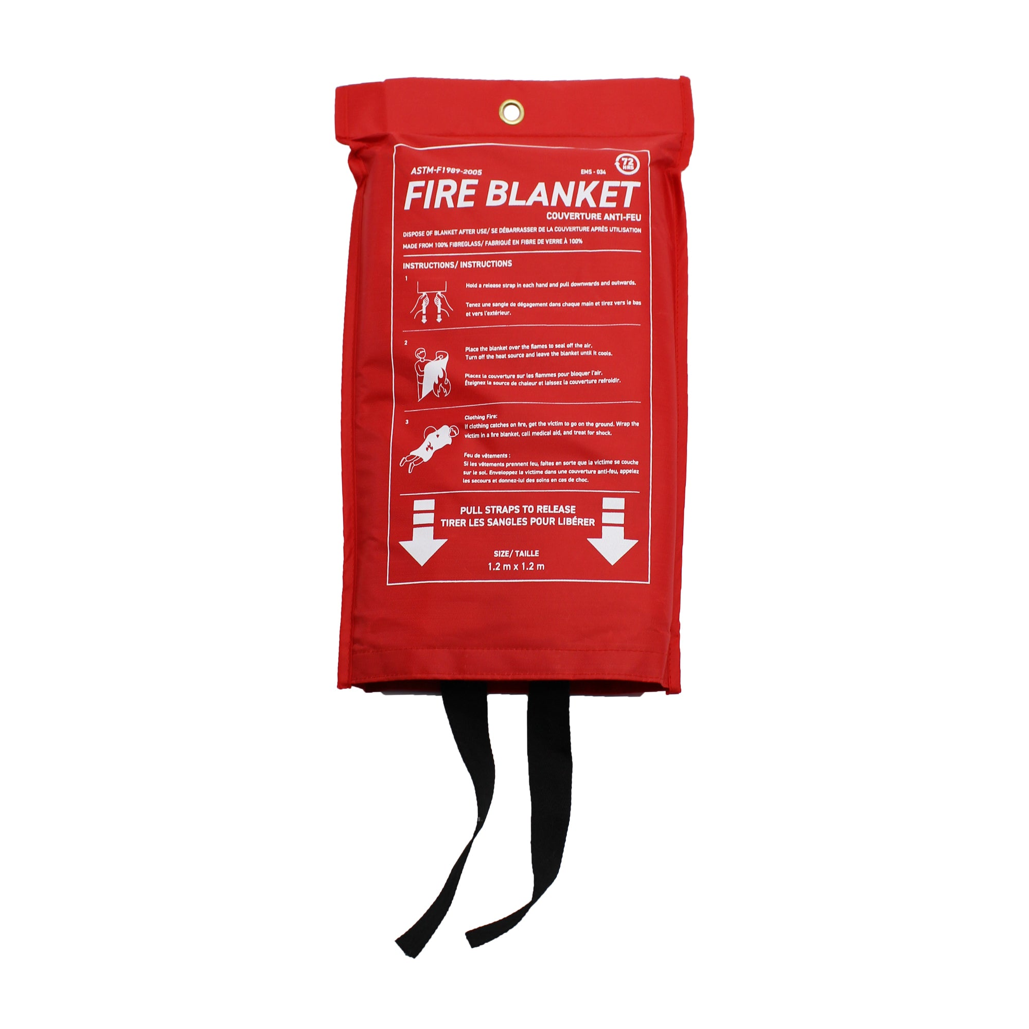 72 HRS Fire Blanket 1.2m x 1.2m with red carrying pouch front