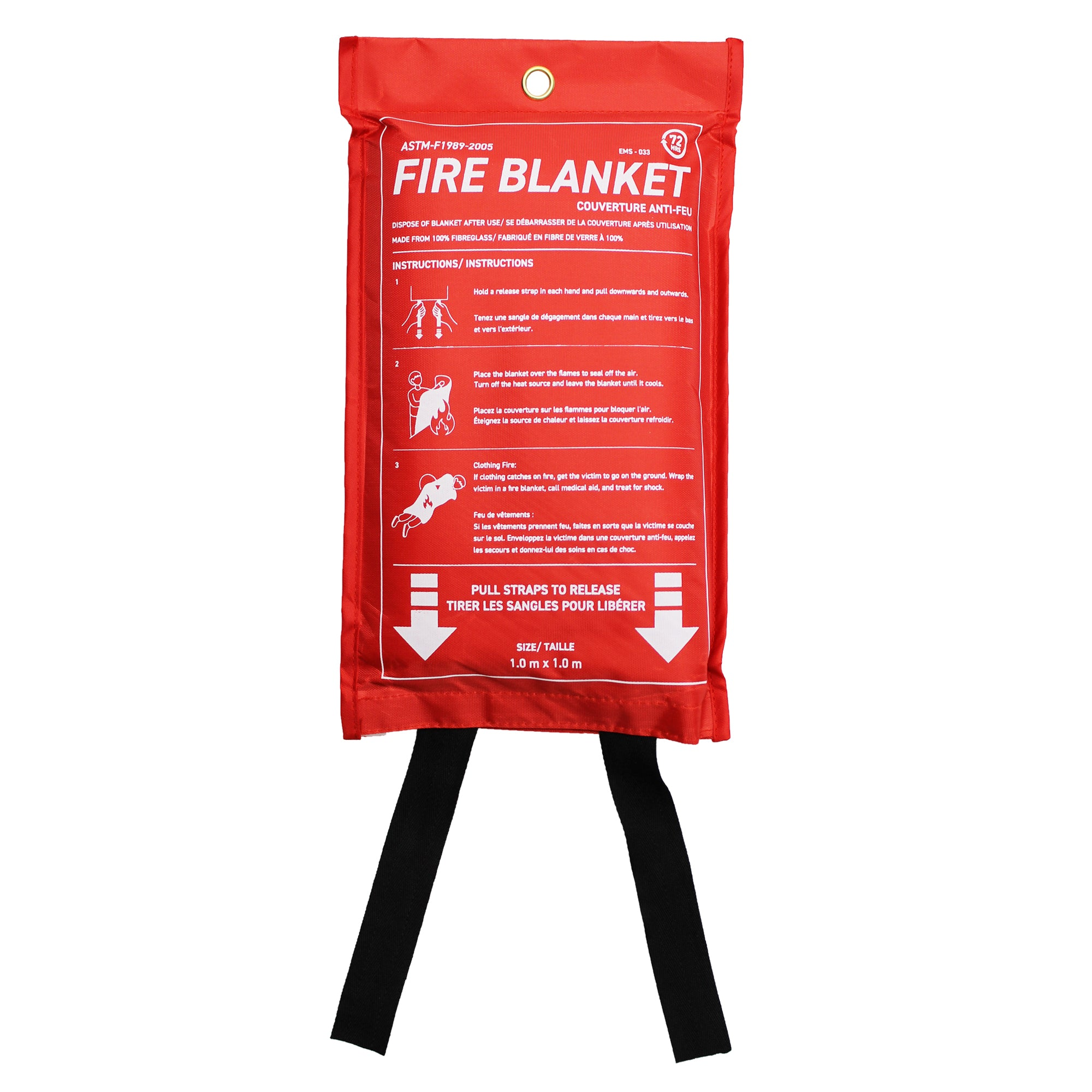 72 HRS Fire Blanket 1m x 1m with red carrying pouch front
