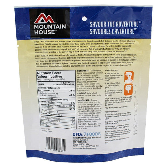 Granola with Milk and Blueberries Pouch - One Serving (Mountain House®) Nutritional Facts