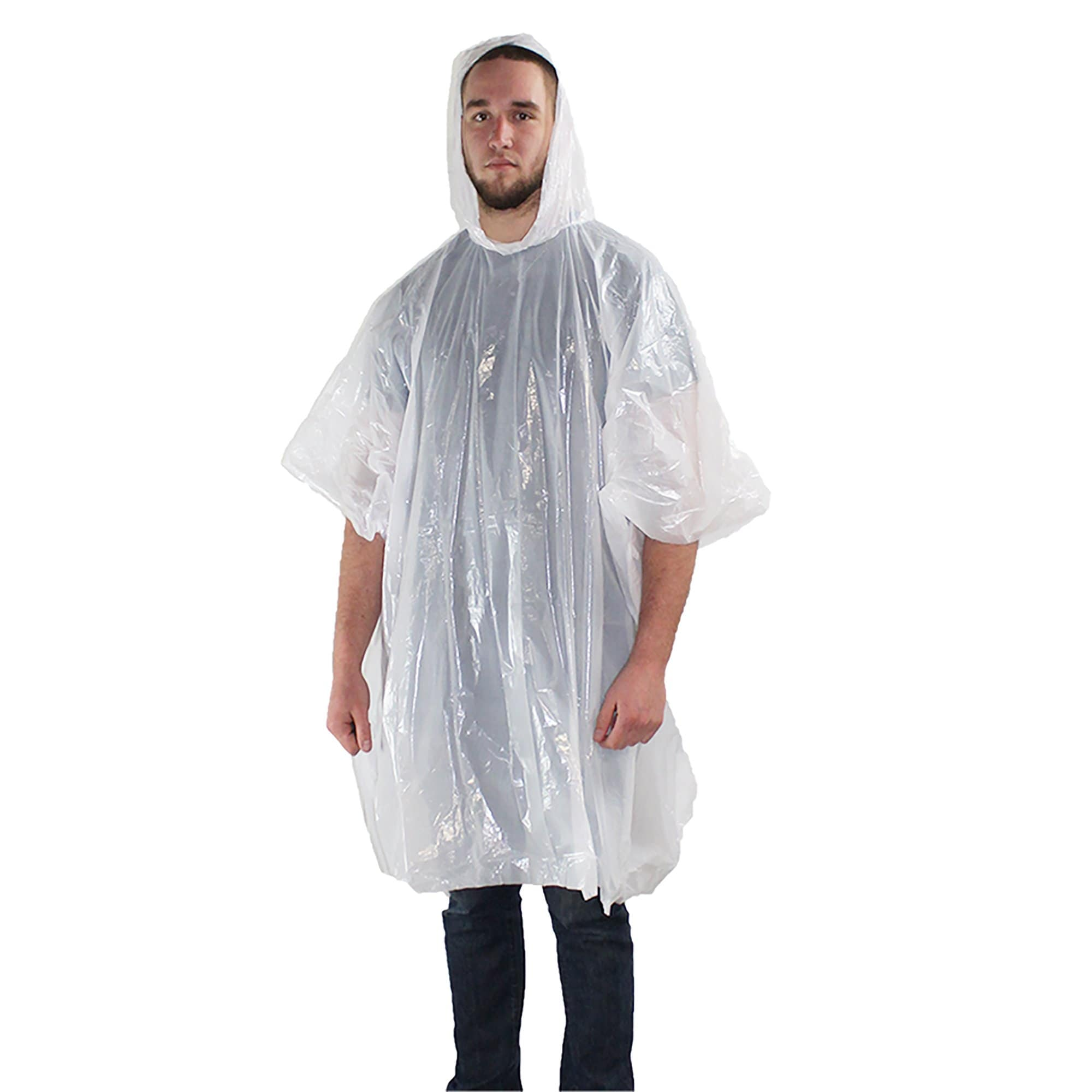 man wearing 72HRS Disposable Hooded Rain Poncho