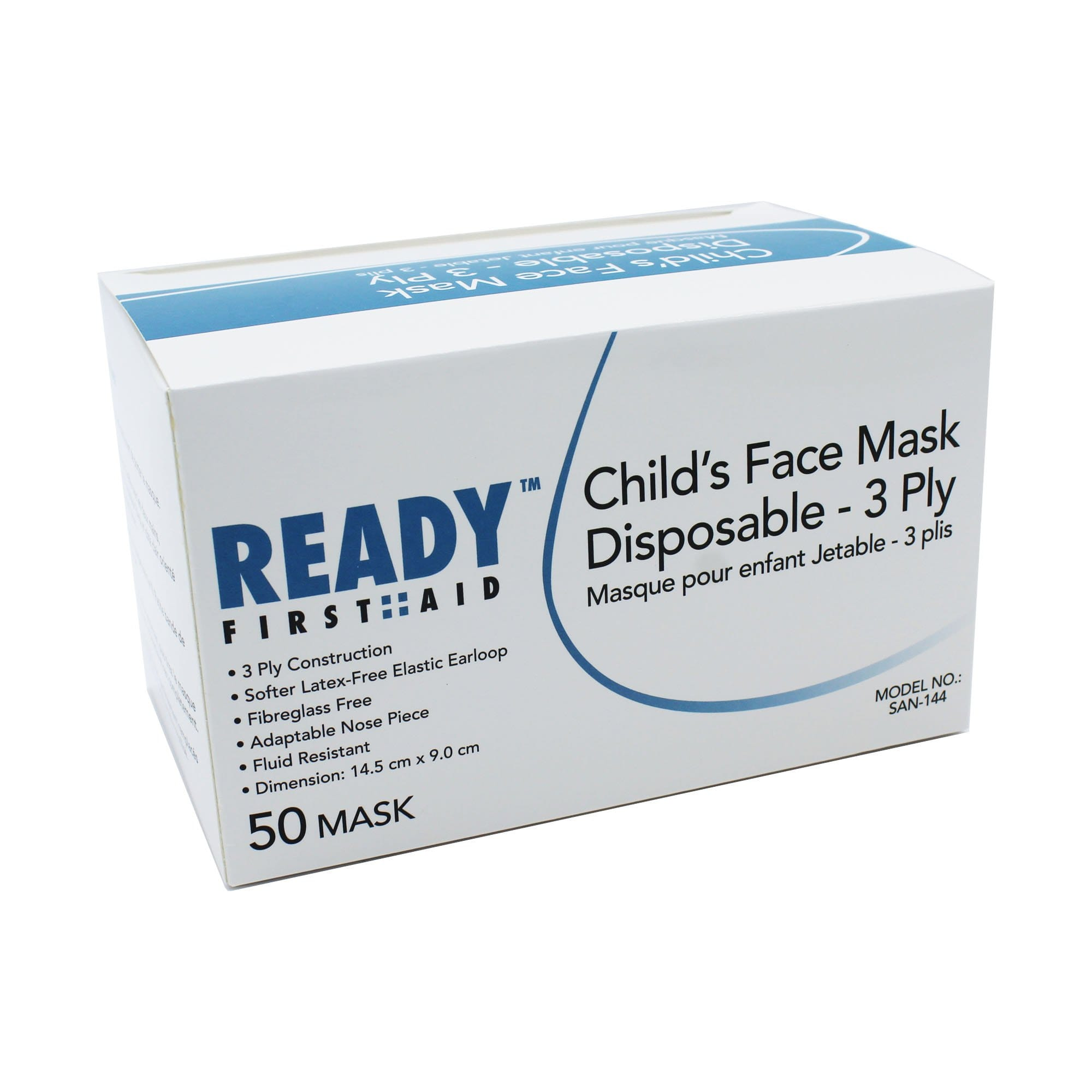 Kids Mask,  3-PLY Earloop Disposable Box of 50 - Ready First Aid