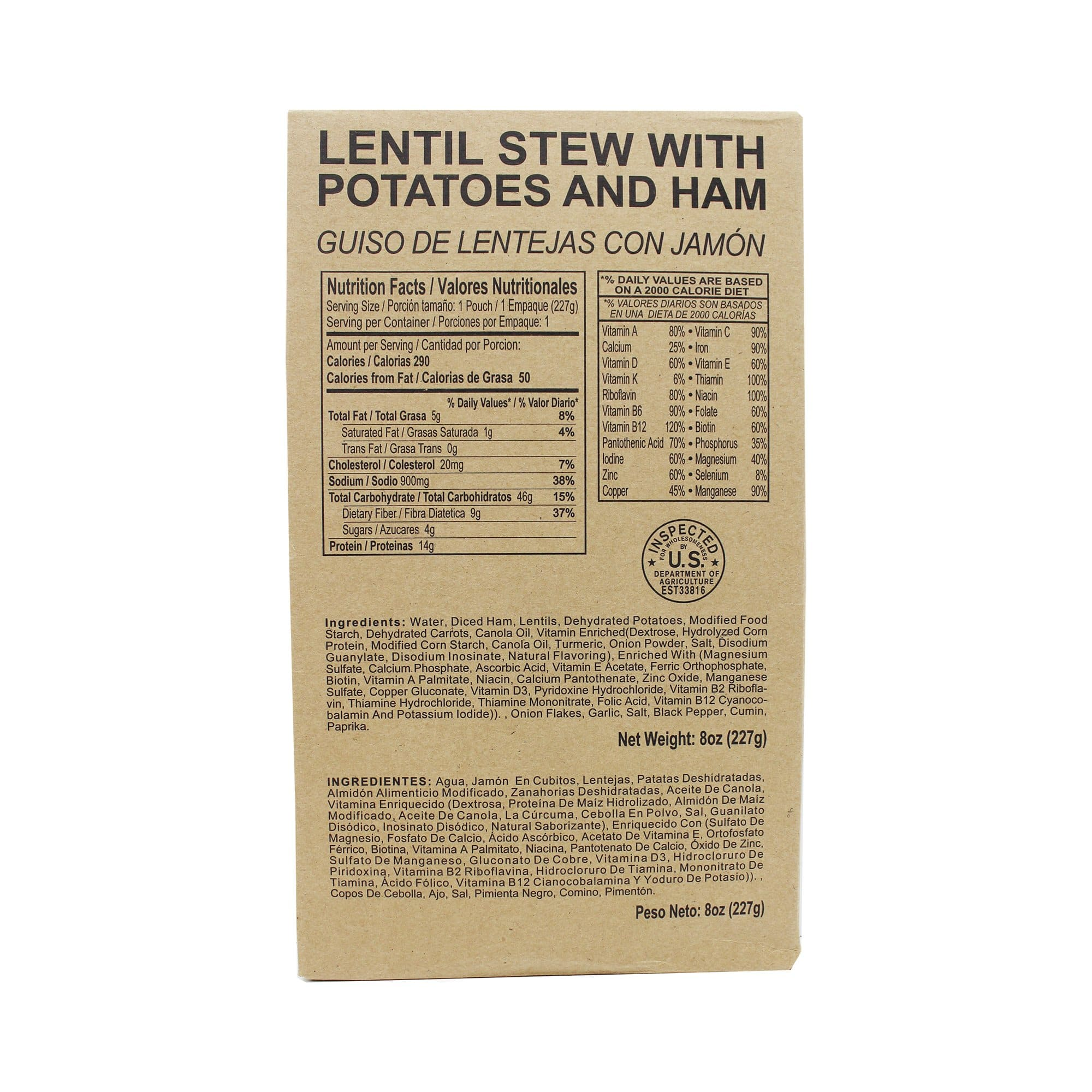 Front side of MRE lentil stew with potatoes and ham case with retort bag inside