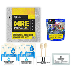 72 HOURS MRE Package Mountain House Granola with Milk and Blueberries Pouch - Emergency Food Pack