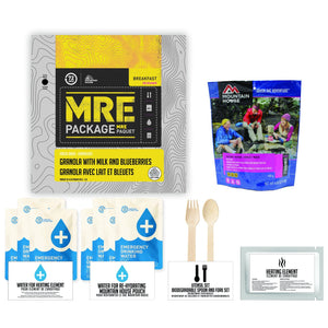 72 HOURS MRE Package with Mountain House Apple Crisps Pouch - Emergency Food Pack