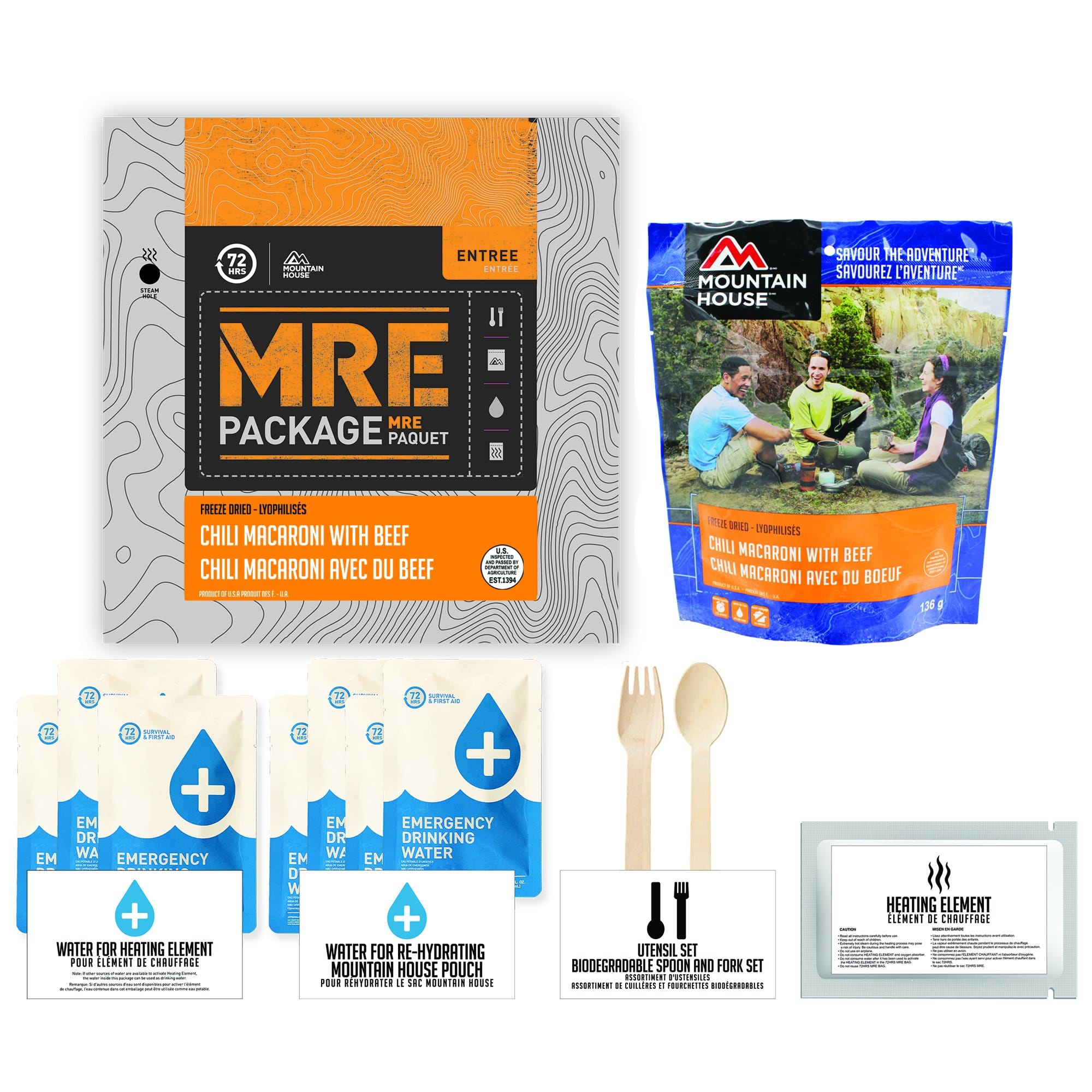 72 HOURS MRE Package Mountain House Chili Mac with Beef Pouch - Emergency Food Pack