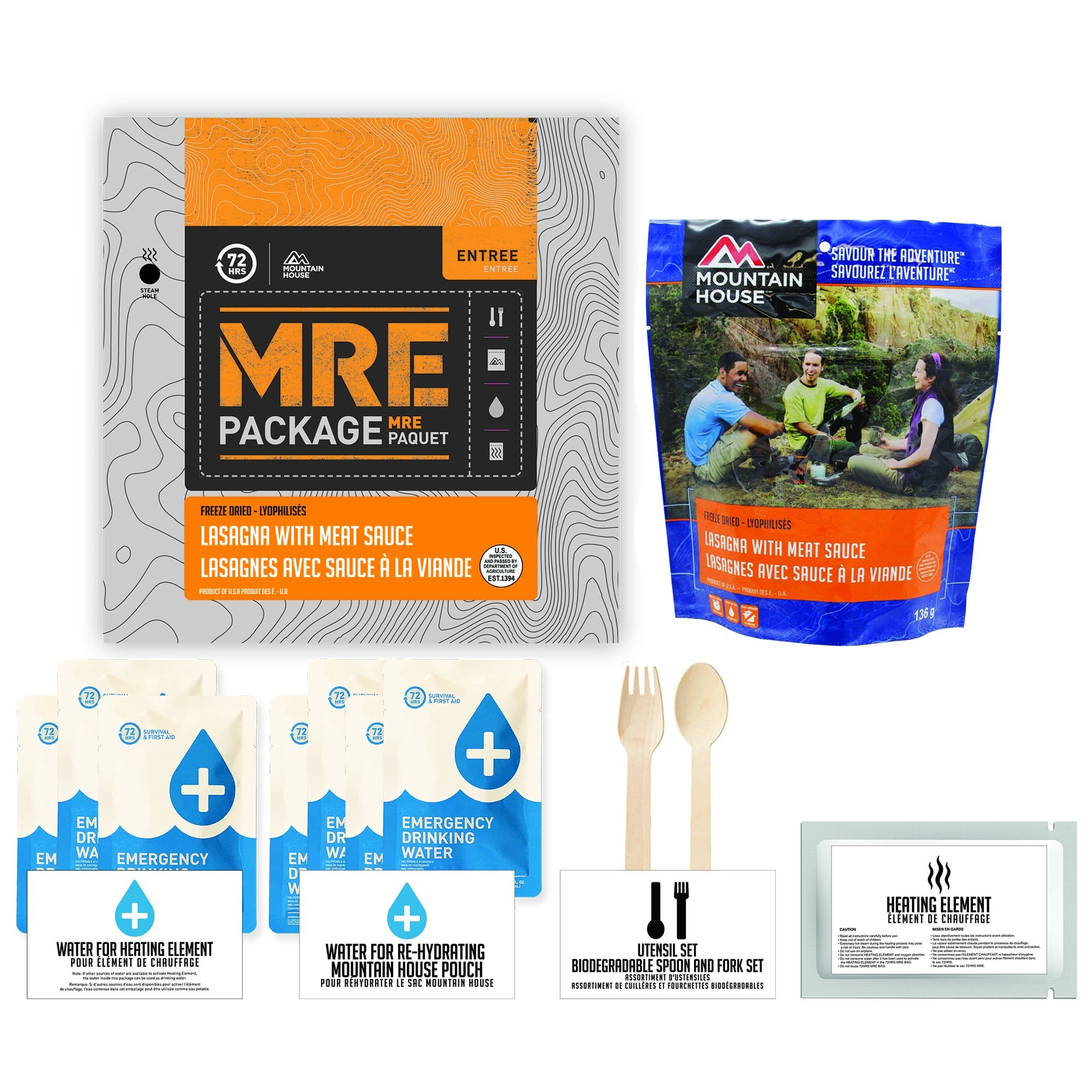 72 HOURS MRE Package Mountain House Lasagna with Meat Sauce Pouch - Emergency Food Pack