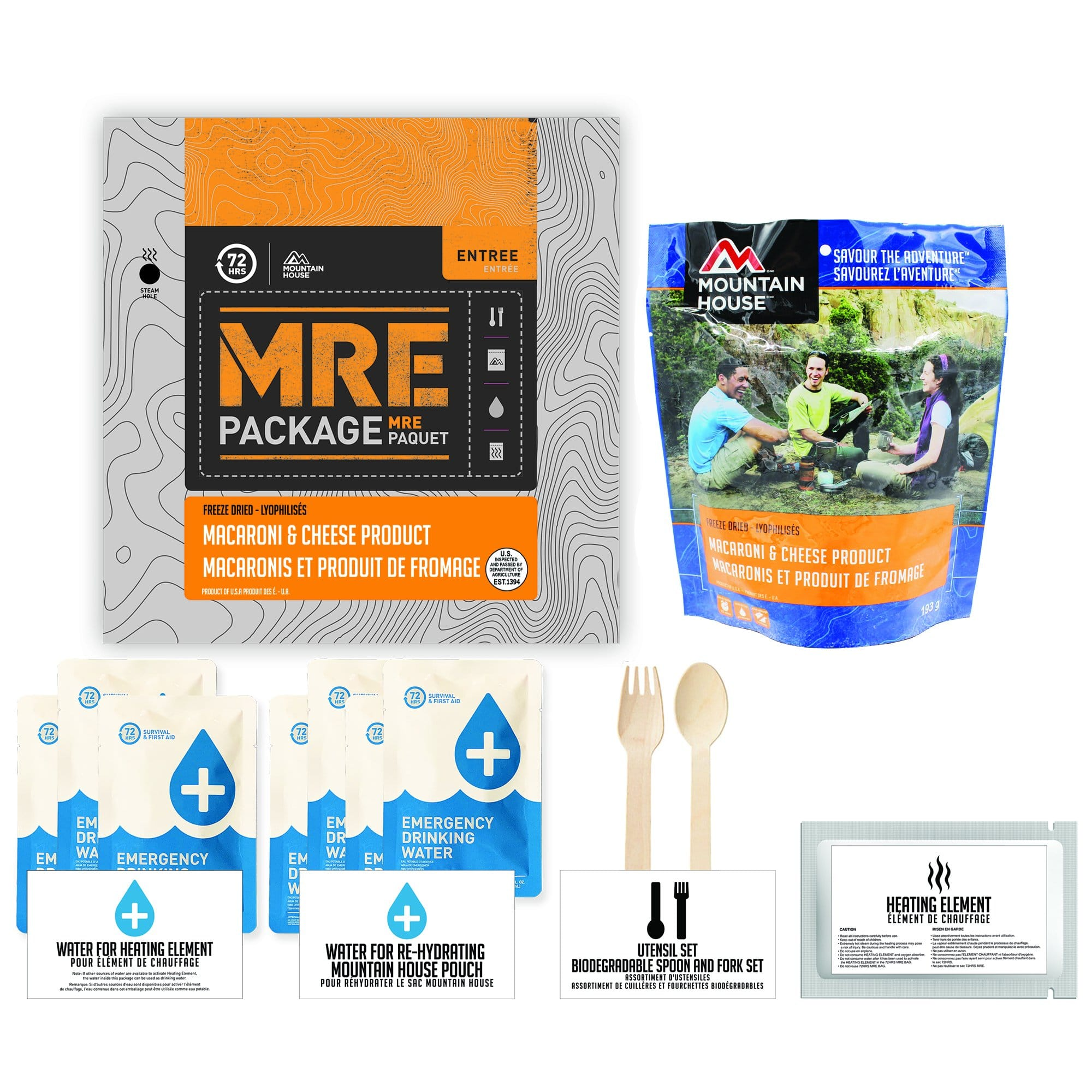 72 HOURS MRE Package Mountain House Mac and Cheese Pouch - Emergency Food Pack