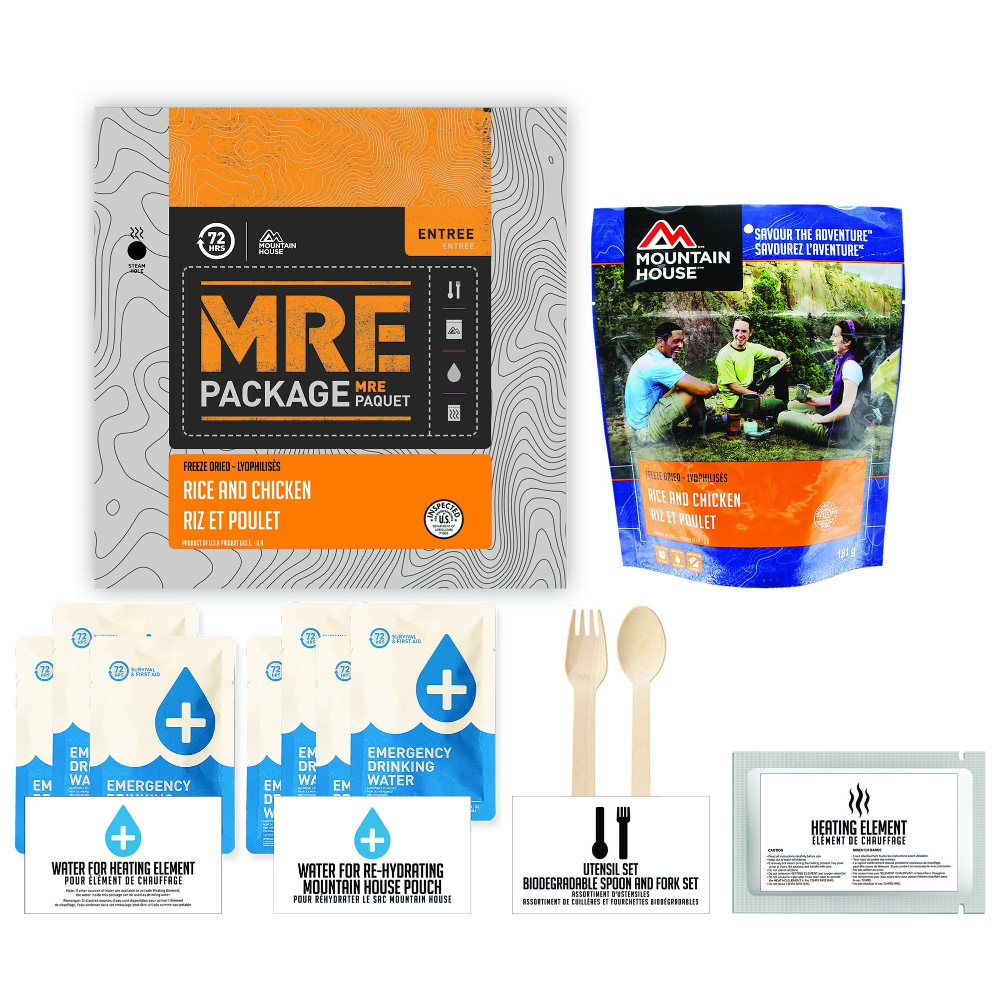 72 HOURS MRE Package Mountain House Rice and Chicken Pouch - Emergency Food Pack