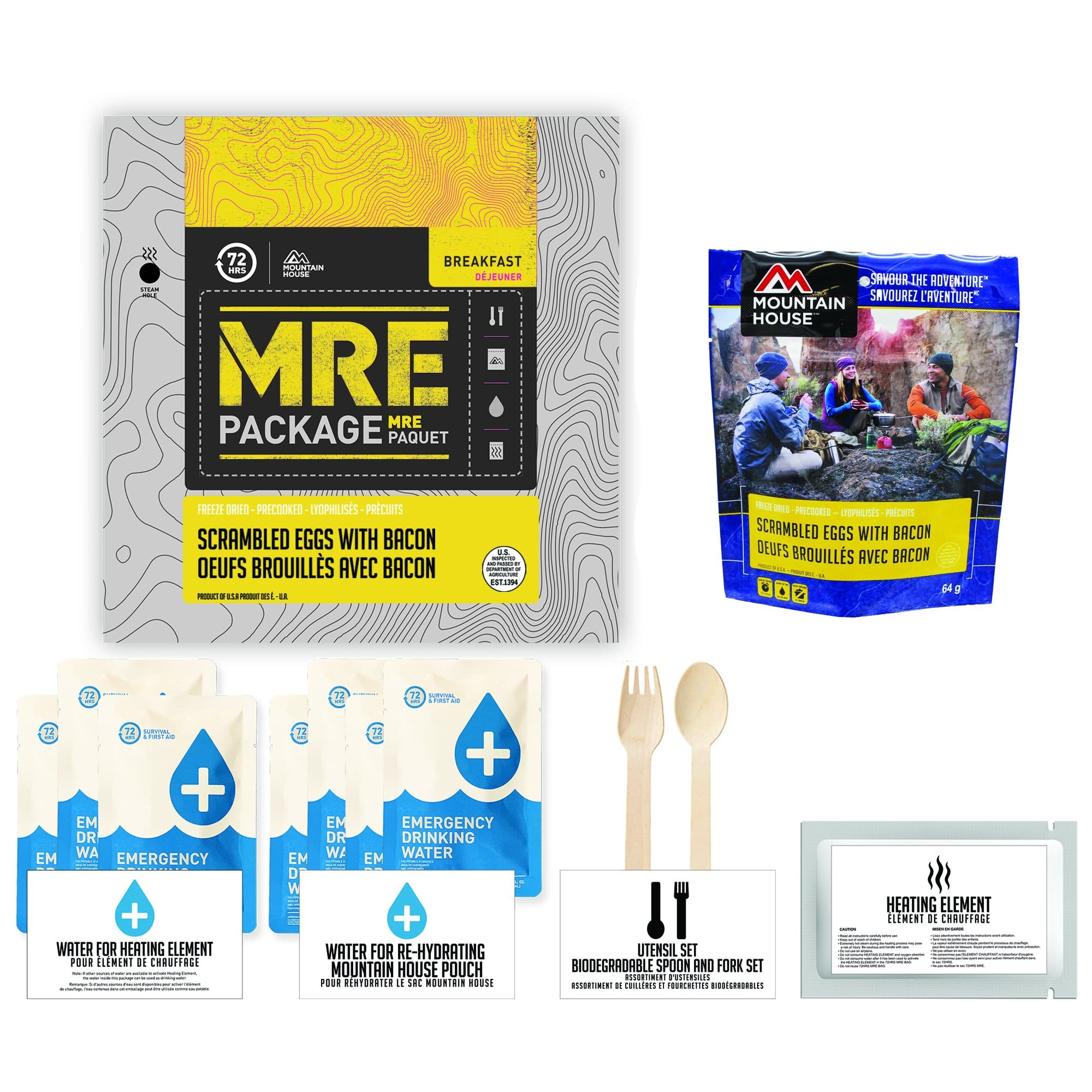72 HOURS MRE Package Mountain House Scrambled Eggs with Bacon Pouch - Emergency Food Pack
