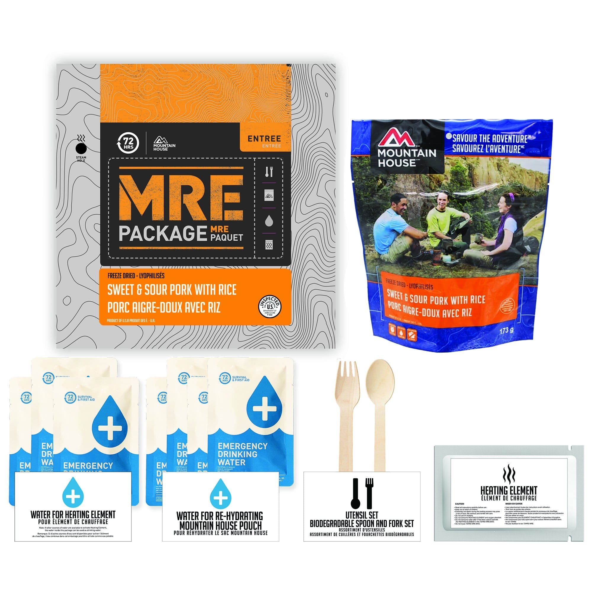 72 HOURS MRE Package Mountain House Sweet and Sour Pork Sauce Pouch - Emergency Food Pack