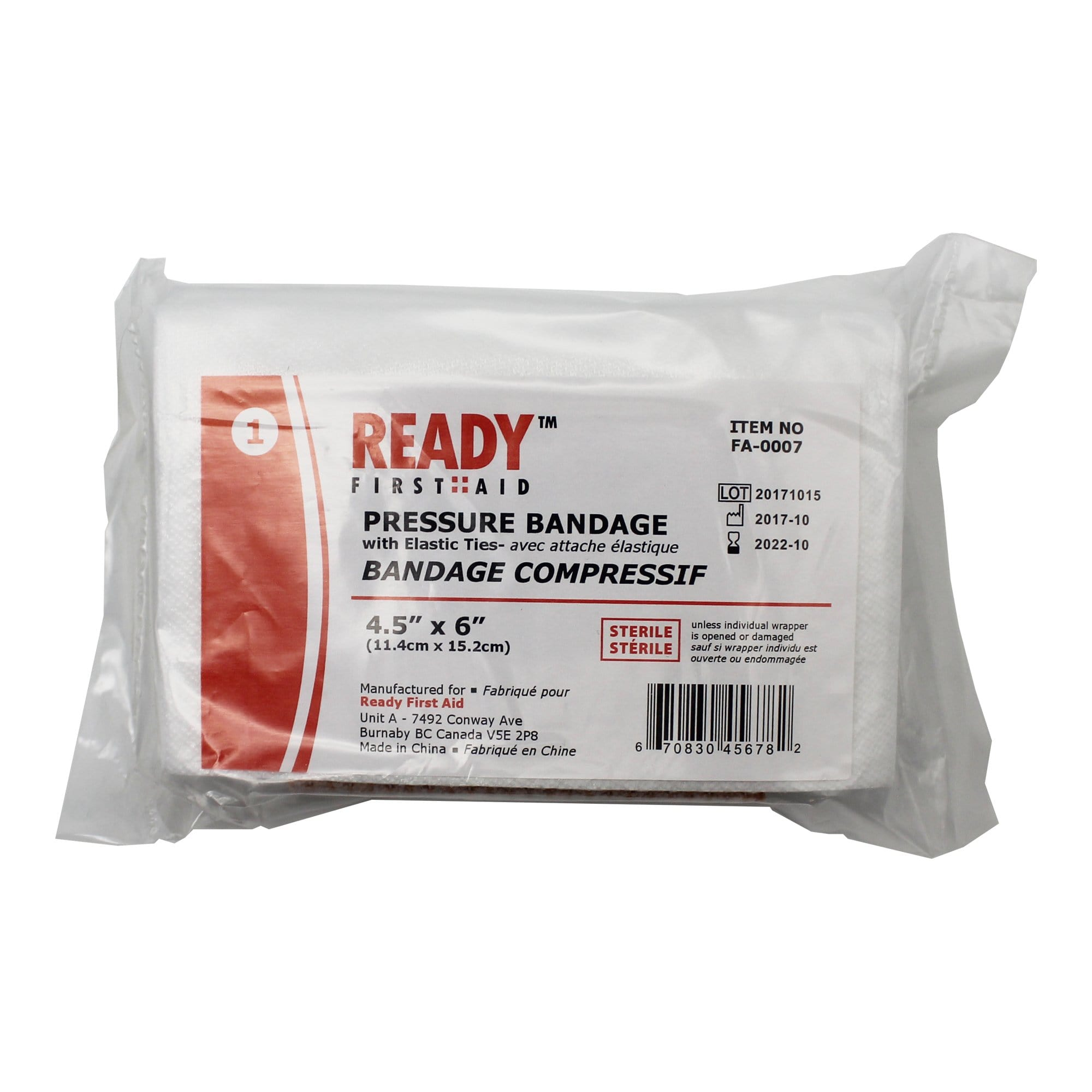 Pressure Bandage w/Elastic Ties 11.4cm x 14.3cm (4.5 inches x 6 inches) - Ready First Aid