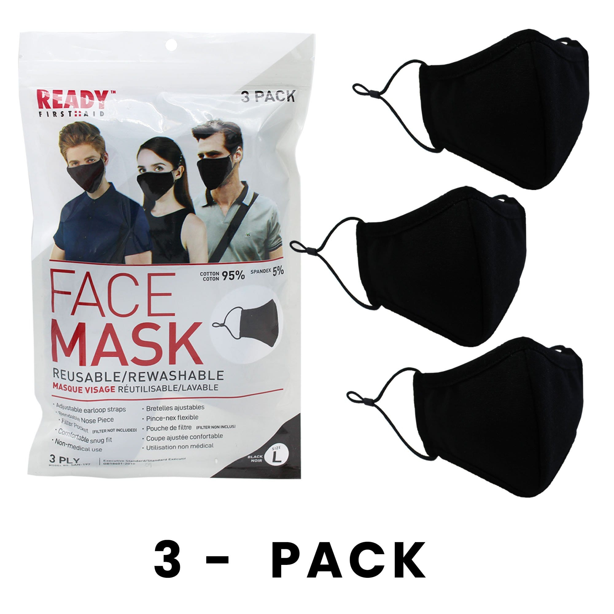 Reusable Face Mask, 3-Layer, Black, V2, Pack of 3 - Ready First Aid