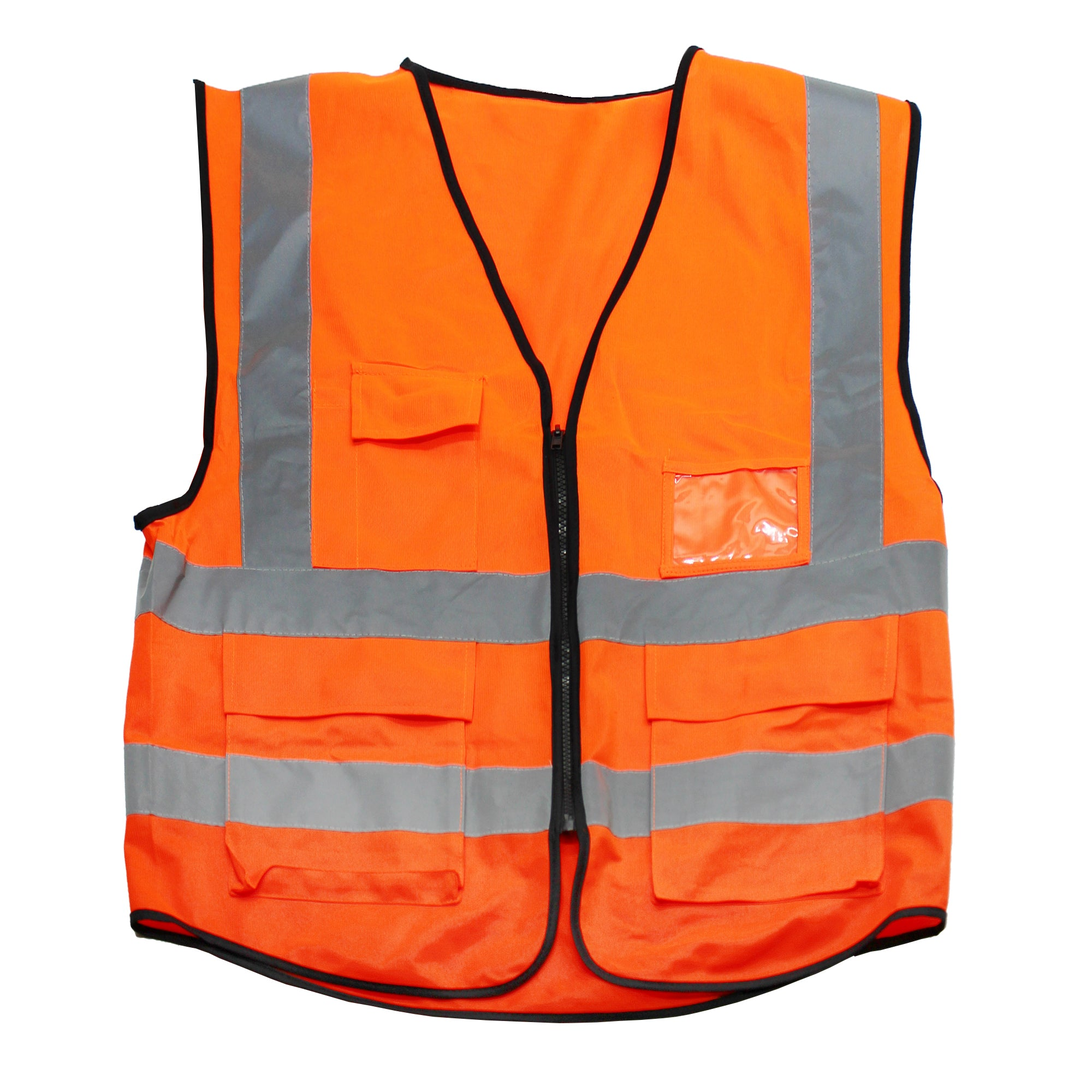 Orange safety vest with reflective strips and front pockets