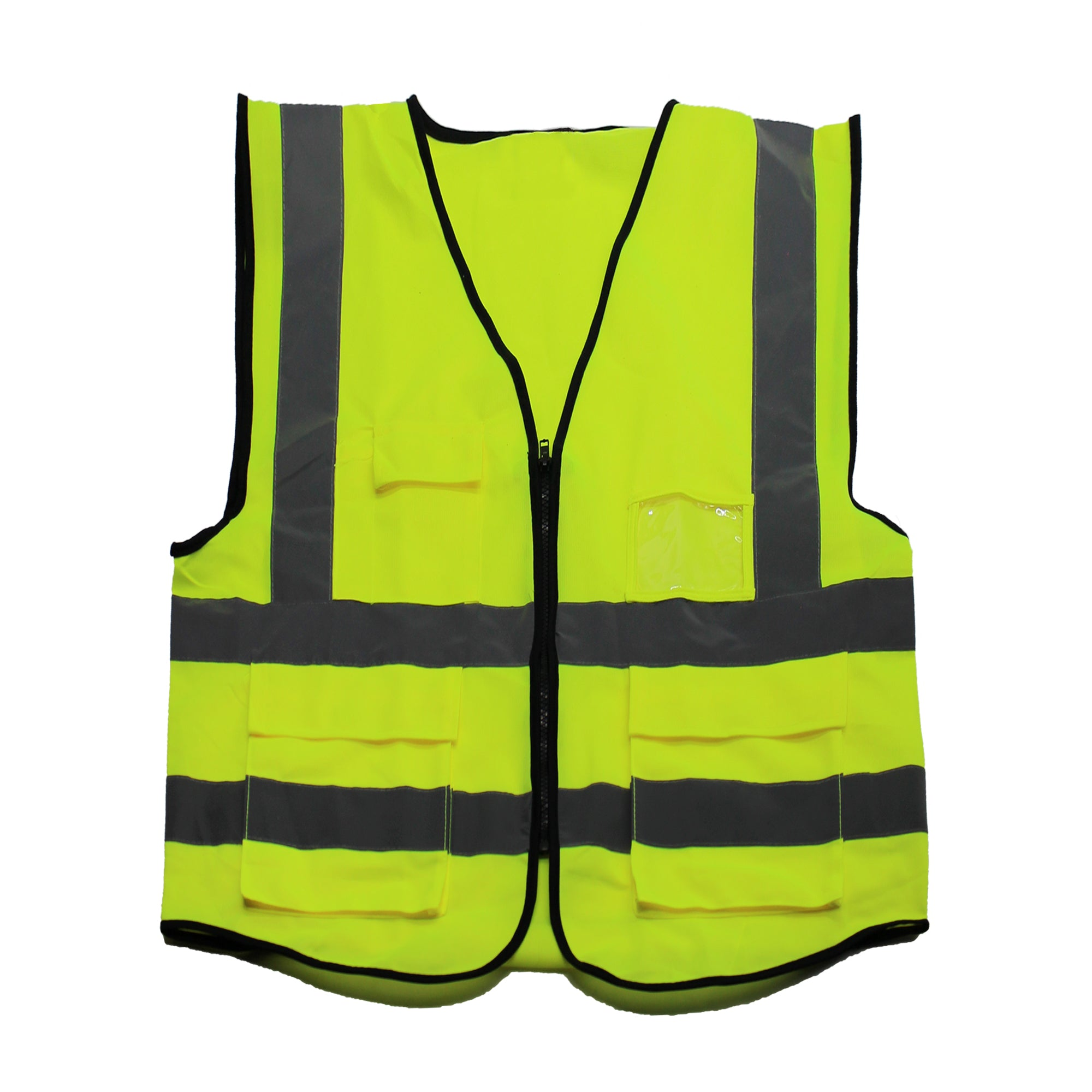 Yellow safety vest with reflective strips and front pockets