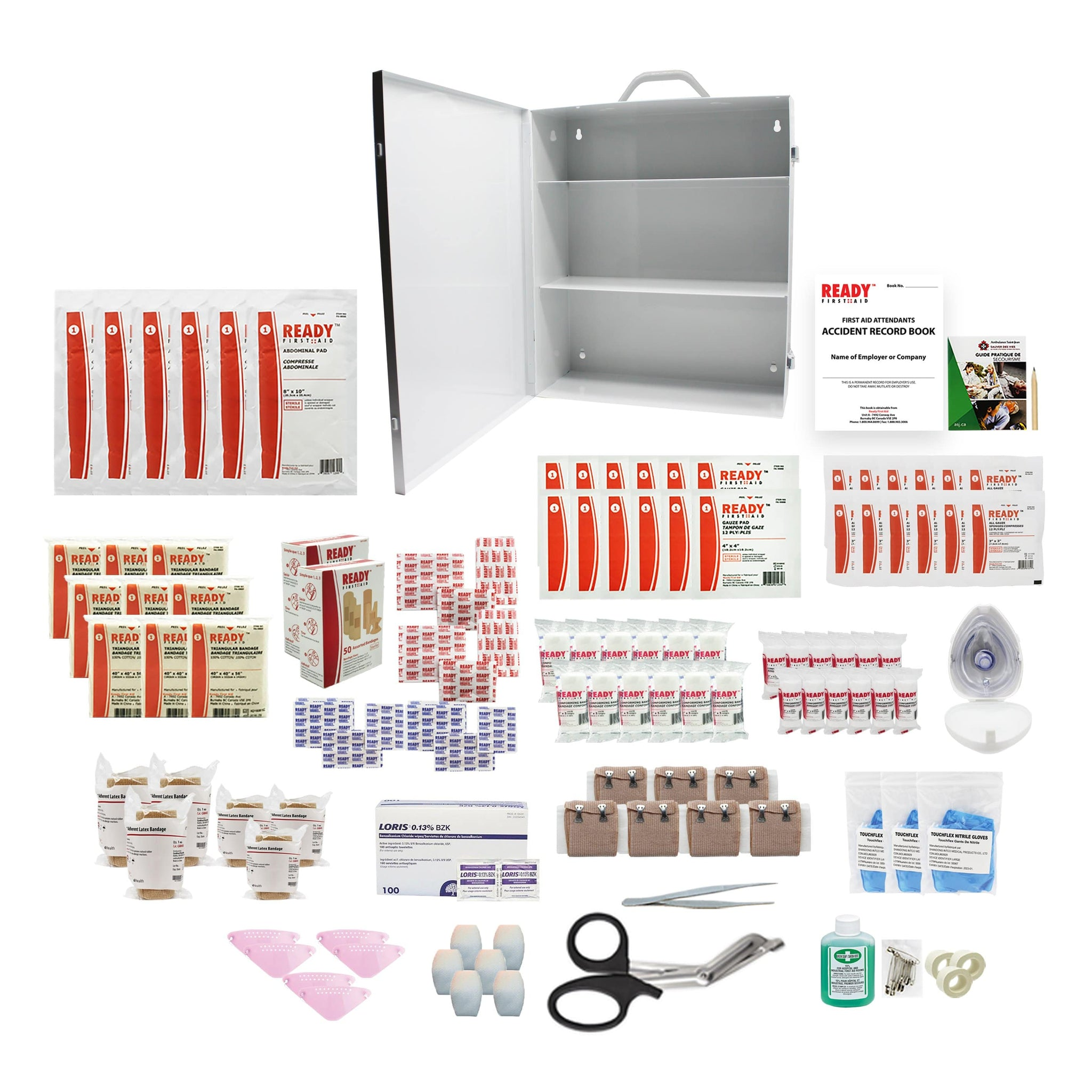 Saskatchewan 40+ Employees First Aid Kit Min. Requirements Metal Cabinet