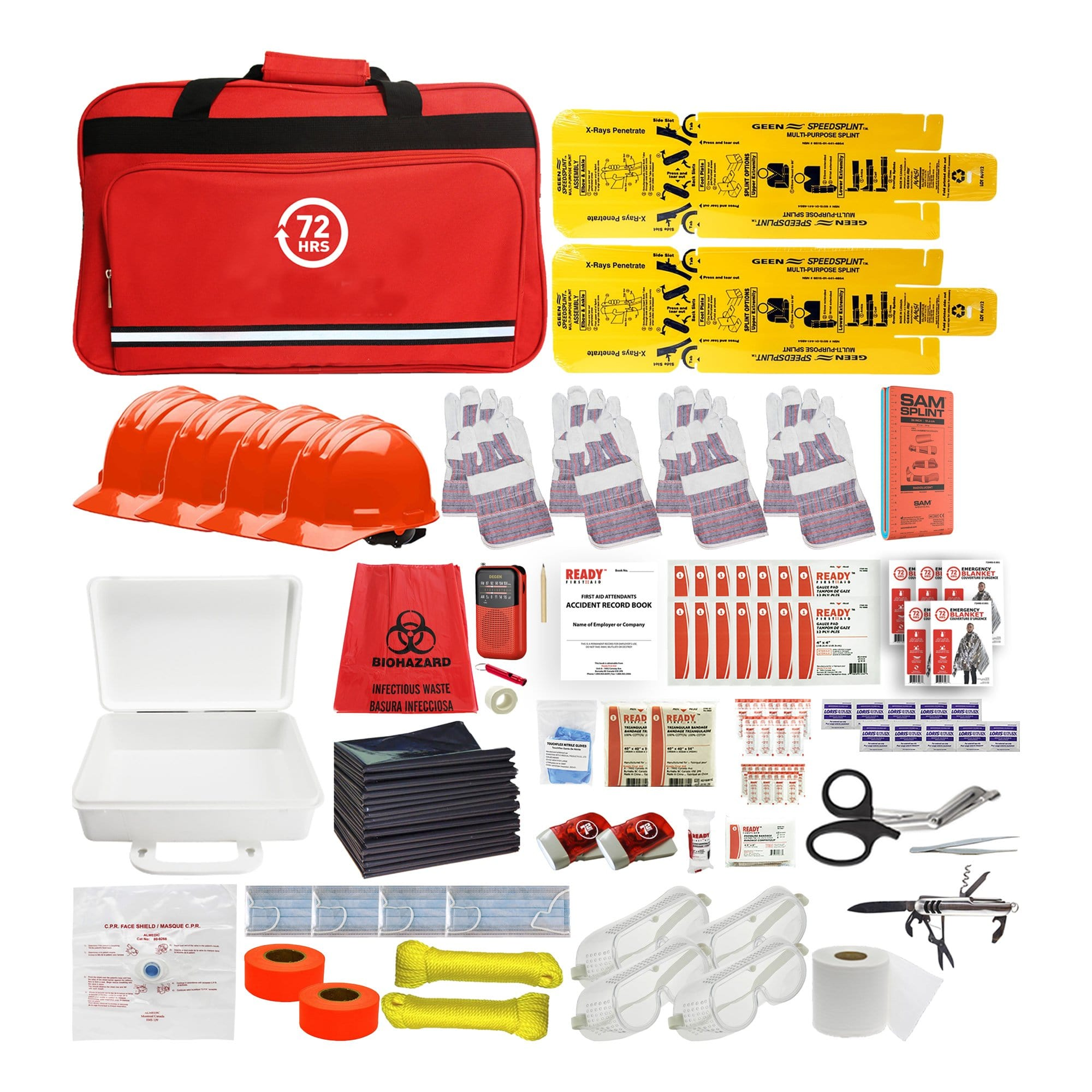 72HRS school emergency survival kit with contents laid outside of red duffle bag
