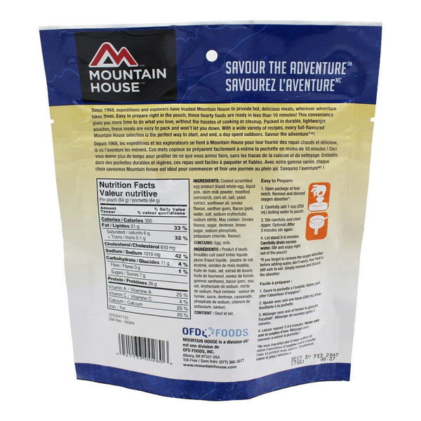 Scrambled Eggs With Bacon Pouch - One Serving (Mountain House®) Nutritional Facts