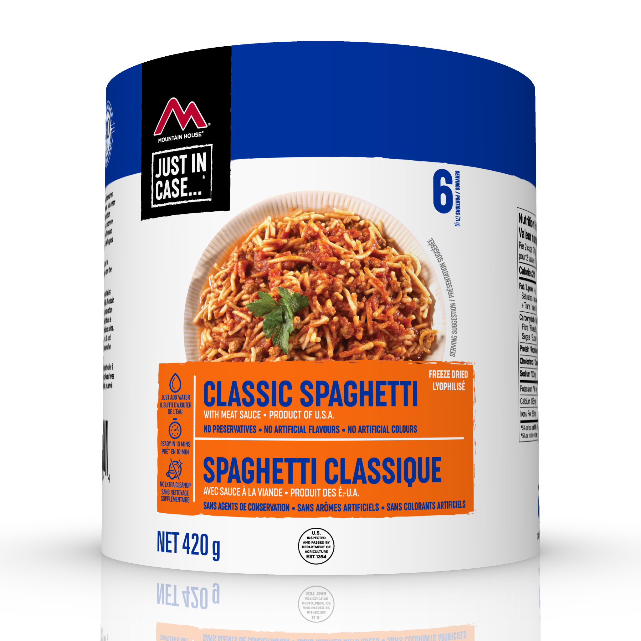 The Mountain House Spaghetti with Meat Sauce #10 Can is made with noodles and beef in Italian-style red sauce. Perfect for emergency food storage.