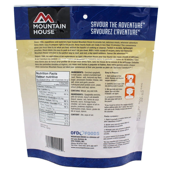 Spaghetti with Meat Sauce Pouch - Two Serving (Mountain House®) Nutritional Facts